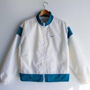 Nike White and Teal Lined Windbreaker Jacket